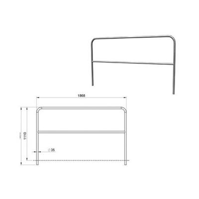 Aluminium-Geländer für Bühnenpodeste 2m, mit 1 Querstrebe