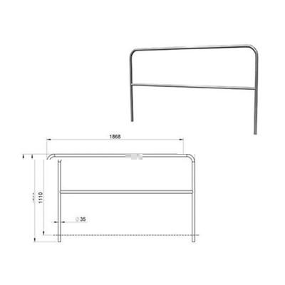 Aluminium-Geländer / Bühne für Bühnenpodeste 2m, mit 1 Querstrebe